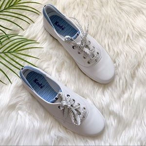 Keds White Leather Lace up Gel Flex Sneakers Size7